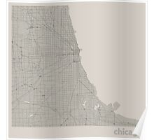Minimal Maps - Chicago - Light Poster