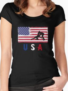 USA Judo 2016 competition wrestling judoka funny t-shirt Women's Fitted Scoop T-Shirt
