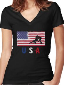 USA Judo 2016 competition wrestling judoka funny t-shirt Women's Fitted V-Neck T-Shirt