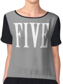 FIVE, NUMBER 5, FIFTH, TEAM SPORTS, Competition, WHITE Chiffon Top