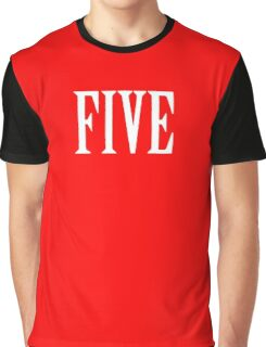 FIVE, NUMBER 5, FIFTH, TEAM SPORTS, Competition, WHITE Graphic T-Shirt