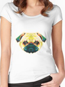 Geometric Bulldog in Green Women's Fitted Scoop T-Shirt