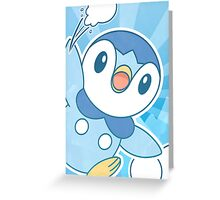 Piplup, Snowball Fight Greeting Card