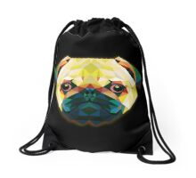 Geometric Bulldog in Black Drawstring Bag