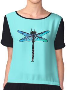 Vintage Japanese Dragonfly, turquoise blue Chiffon Top