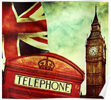 Vintage Retro Big Ben Clock and Red Box in London Poster