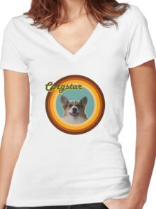 Groovy Corgstar, Baby! Women's Fitted V-Neck T-Shirt