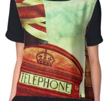 Vintage Retro Big Ben Clock and Red Box in London Chiffon Top