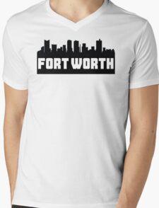 Fort Worth Texas Skyline Mens V-Neck T-Shirt