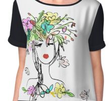 Female portrait with floral hairstyle  Chiffon Top