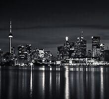 Toronto Skyline At Night From Polson St No 2 Black and White Version by Brian Carson