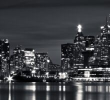 Toronto Skyline At Night From Polson St No 2 Black and White Version Sticker