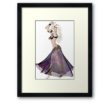 Pretty Blond American Brazilian Arabic Woman Belly Dancer Wearing Purple and Gold Belly Dance Clothing  'bedlah' Framed Print