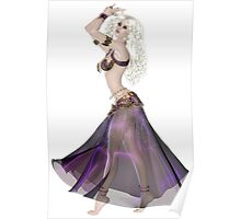Pretty Blond American Brazilian Arabic Woman Belly Dancer Wearing Purple and Gold Belly Dance Clothing  'bedlah' Poster