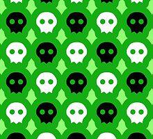 Electric Green Staring Skulls Pattern by ArtsyRosey