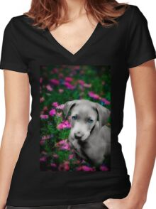 Puppy in the pink Women's Fitted V-Neck T-Shirt