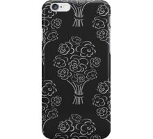 Rose bouquet seamless pattern. Hand drawn outline black background. Flower sketch wallpaper. iPhone Case/Skin