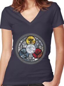 (The legendary Birds) Pokemon Parody Design Women's Fitted V-Neck T-Shirt
