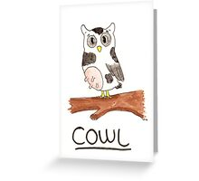 Cow + Owl = Cowl Greeting Card