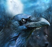 Raven and Wolf - In The Moonlight by Carol  Cavalaris