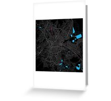 Mexico City Dark Magenta Map Greeting Card