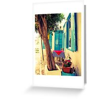 Picturesque Greek Island cafe Greeting Card