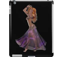 African American Arabic Brazilian Belly Dancer Woman with Red Curly Hair Wearing Purple and Golden Belly Dance Clothing  'bedlah' iPad Case/Skin