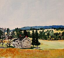 Farmhouse Valley Forge Pennsylvania Countryside Contemporary Acrylic Painting by JamesPeart