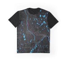 Minneapolis City Dark Magenta Map Graphic T-Shirt