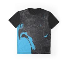 San Diego Dark Magenta Map Graphic T-Shirt