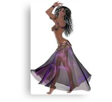 African American Arabic Brazilian Belly Dancer Woman with Black Curly Hair Wearing Purple and Golden Belly Dance Clothing  'bedlah' Canvas Print