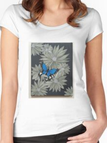 Grey flowers, blue butterfly Women's Fitted Scoop T-Shirt