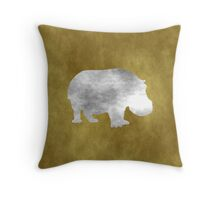 Grunge Hippo Throw Pillow