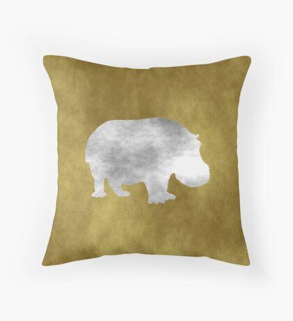 Grunge Hippo Throw Pillow