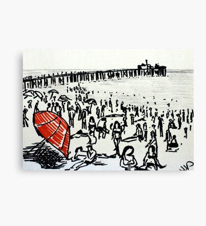 Beach Red Umbrella Black And White Seaside Illustration Canvas Print