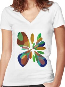 Colorful abstract flower Women's Fitted V-Neck T-Shirt