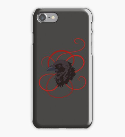 Black Raven with Red Ribbon Custom Design iPhone Case/Skin