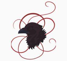 Black Raven with Red Ribbon Custom Design Kids Tee