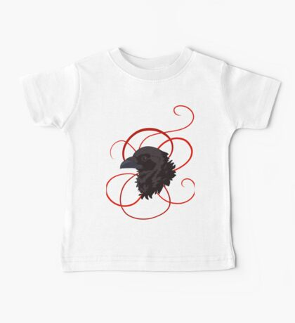 Black Raven with Red Ribbon Custom Design Baby Tee