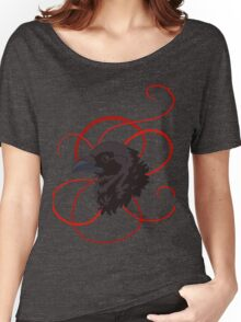 Black Raven with Red Ribbon Custom Design Women's Relaxed Fit T-Shirt