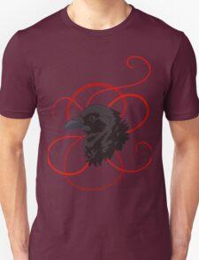 Black Raven with Red Ribbon Custom Design Unisex T-Shirt