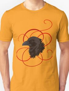 Black Raven with Red Ribbon Custom Design Unisex T-Shirt