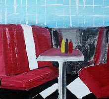 American Diner Art Red White Blue Kitchen Decor Contemporary Acrylic Painting by JamesPeart