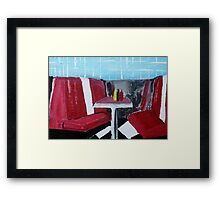 American Diner Art Red White Blue Kitchen Decor Contemporary Acrylic Painting Framed Print