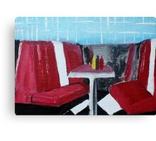 American Diner Art Red White Blue Kitchen Decor Contemporary Acrylic Painting Canvas Print