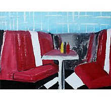 American Diner Art Red White Blue Kitchen Decor Contemporary Acrylic Painting Photographic Print