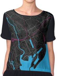 Cardiff Dark Magenta Map Chiffon Top