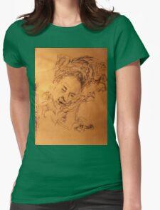 Mother asleep -(020413)- Black biro pen + A5 paper white Womens Fitted T-Shirt