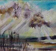 Beach Sun Clouds Contemporary Acrylic Painting by JamesPeart