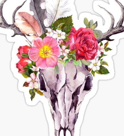 Boho skull with feathers and flowers Sticker